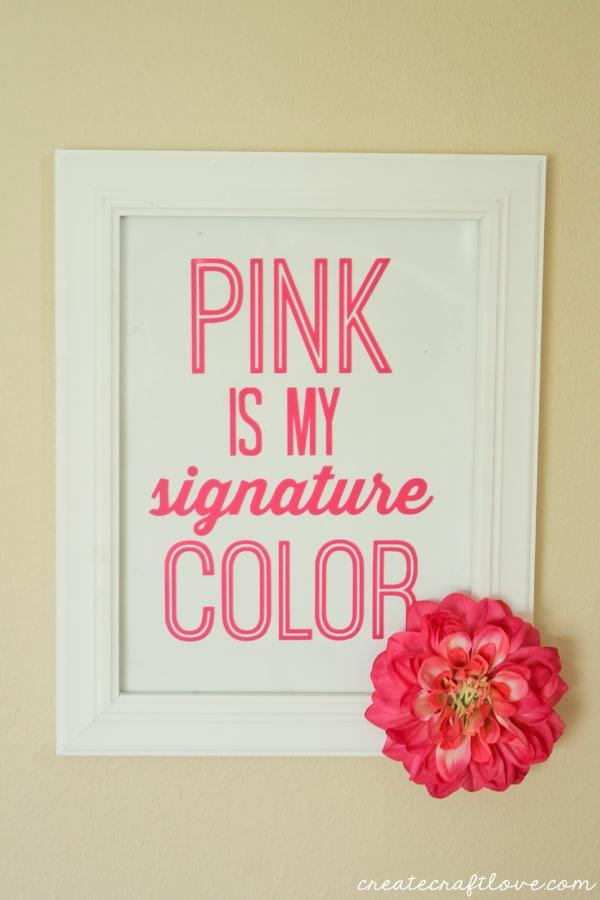 pink vinyl wall decor