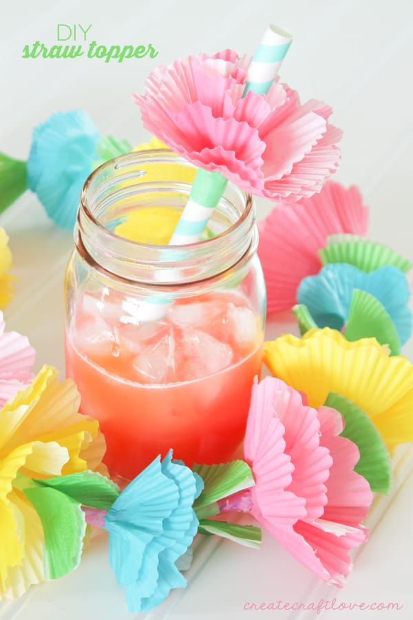 Add flare to your next summer gathering with these easy to make DIY Straw Toppers! via createcraftlove.com