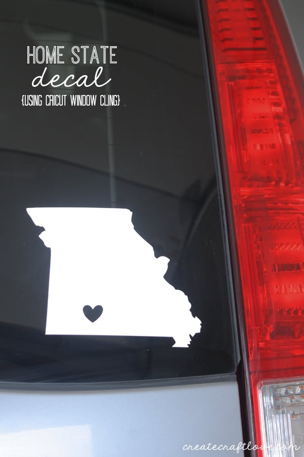 Pledging my love to by home with this Home State Decal using the new Cricut Window Cling material! via createcraftlove.com