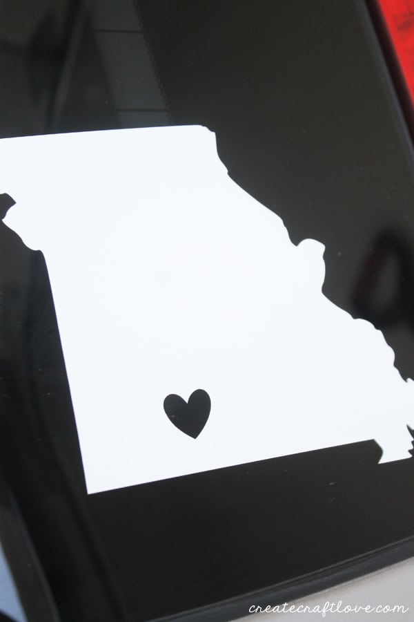 vinyl home state decal upclose