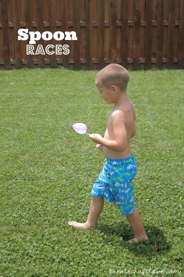 water balloon olympics spoon races