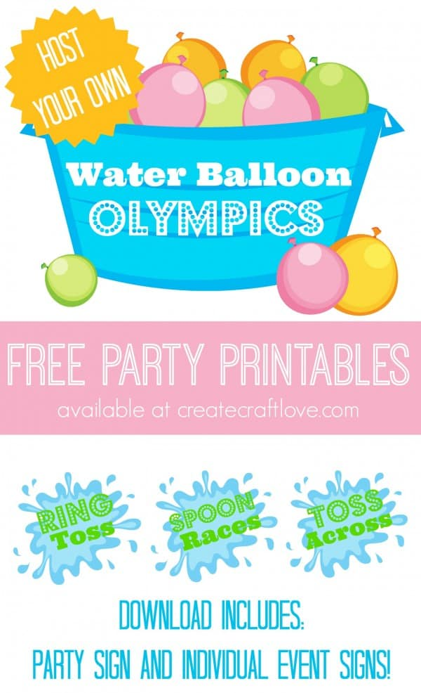 Throw together your own party with these Water Balloon Olympics Free Printables! via createcraftlove.com