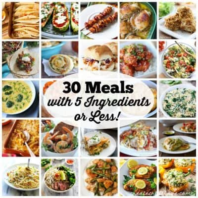 Here are 30 Meals with 5 Ingredients or Less to make menu planning a little easier for everyone! via createcraftlove.com