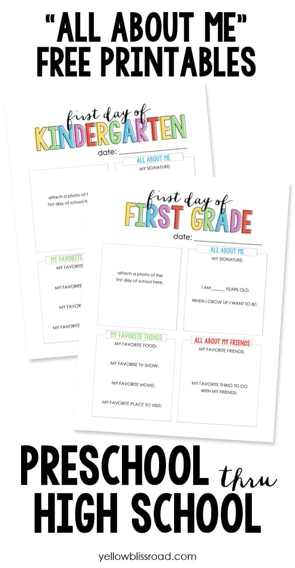 Gutsy image for all about me free printable worksheet