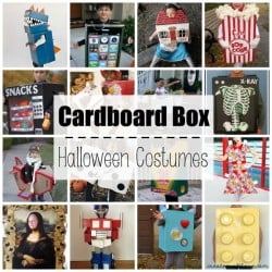 These Cardboard Box Halloween Costumes are so imaginative, fun and cheap to make! via createcraftlove.com