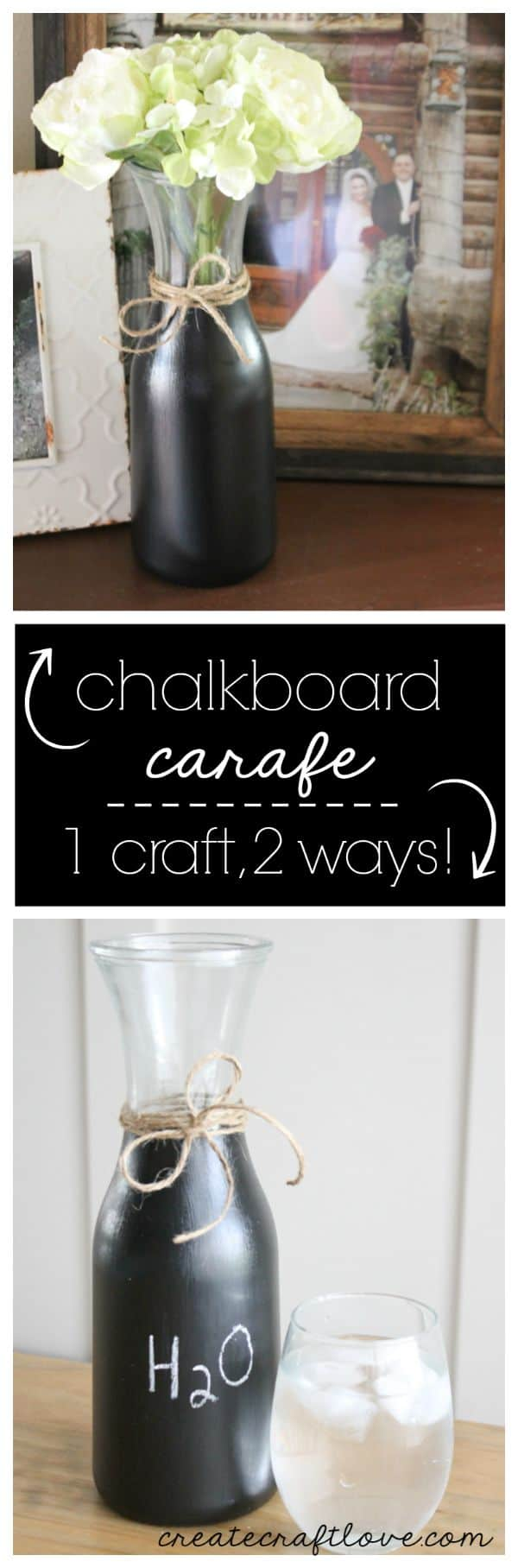 This DIY Chalkboard Carafe is so cool because it's one craft that can be used two ways!