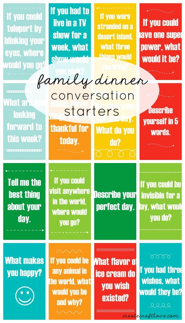 Put away the phones and engage at dinner with these Family Dinner Conversation Starters! via createcraftlove.com