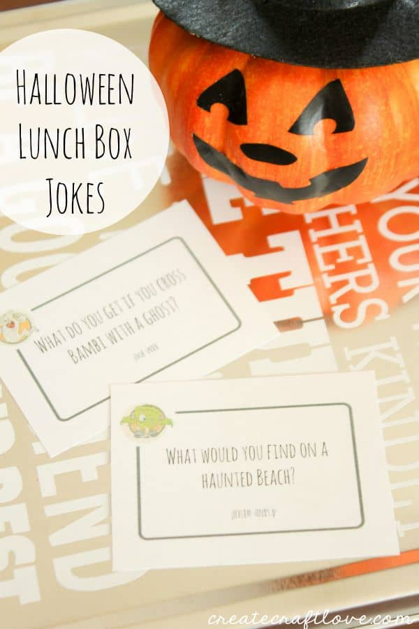 Halloween Lunch Box Jokes that will have them laughing all day long! via createcraftlove.com