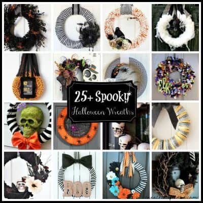 25+ Spooky Halloween Wreaths to greet your trick or treaters! via createcraftlove.com