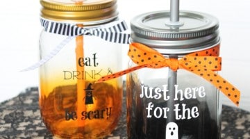 Whether you partake in an alcoholic beverage or not, these are the cutest Halloween Mason Jar Drink Glasses! via createcraftlove.com