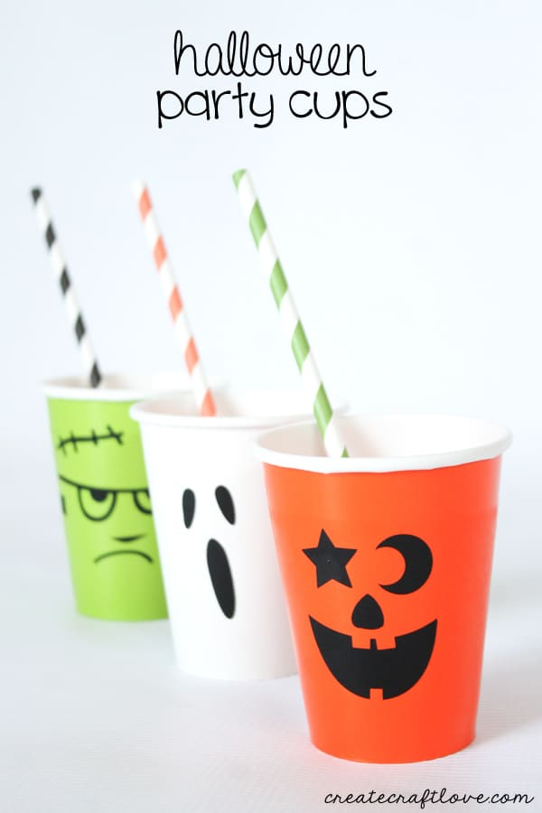 These Halloween Party Cups are so easy to make, it's scary! via createcraftlove.com
