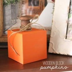 These Wooden Block Pumpkins have a vintage farmhouse feel! via createcraftlove.com