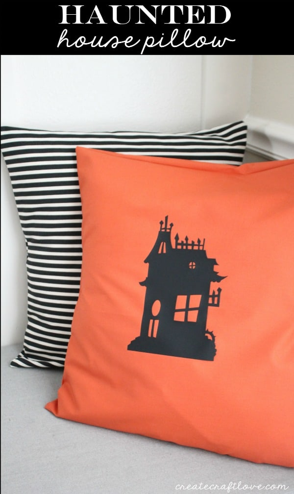 I whipped up this Haunted House Pillow with a little iron on vinyl! via createcraftlove.com
