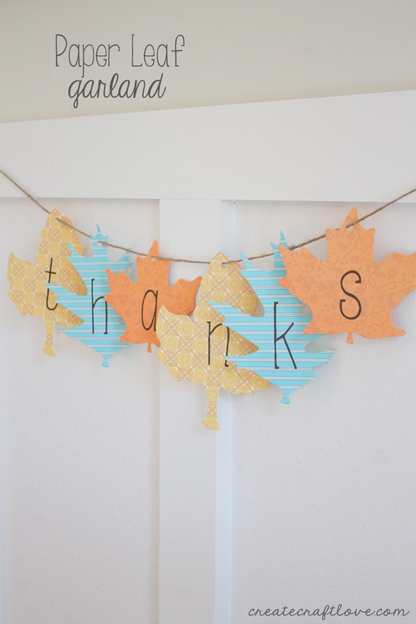 I whipped up this Paper Leaf Garland in under five minute for less than five dollars! via createcraftlove.com
