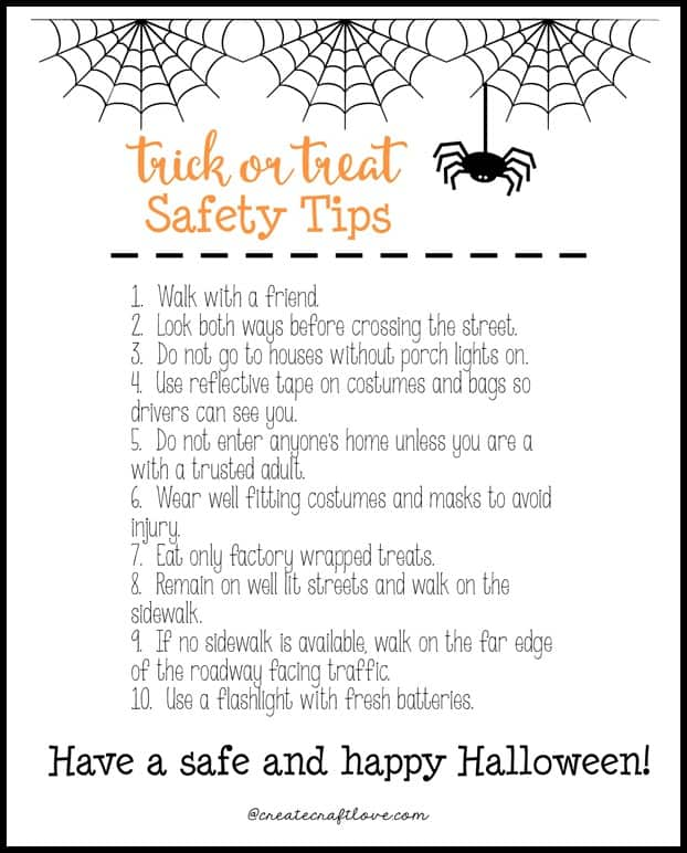 Review these Trick or Treat Safety Tips to guarantee everyone has a safe and happy Halloween! via createcraftlove.com