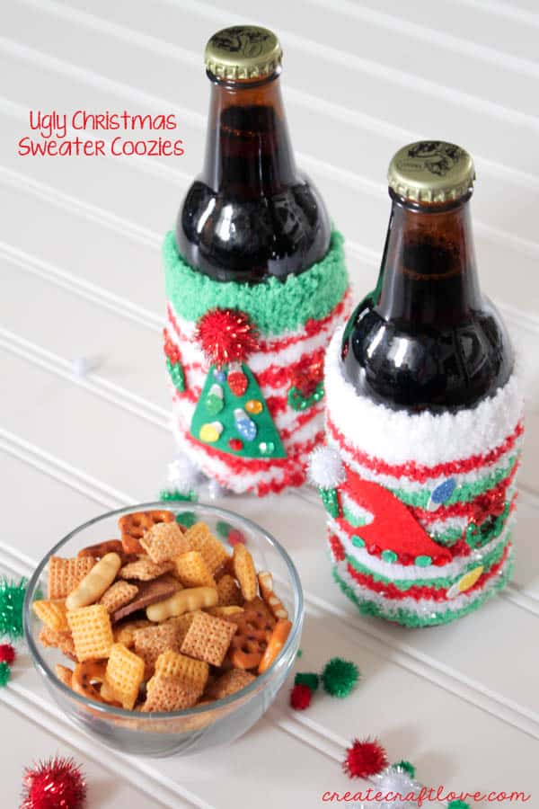 These Ugly Christmas Sweater Coozies are great to dress up your holiday beverages! via createcraftlove.com