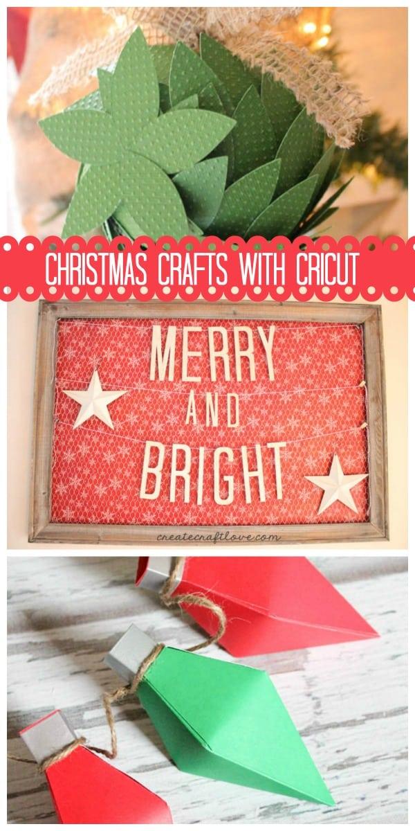 Top 3 Christmas Crafts with Cricut as seen on createcraftlove.com!