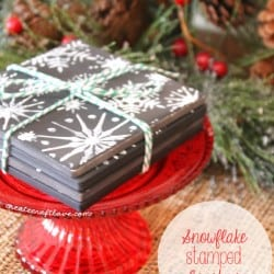 These Snowflake Stamped Coasters make a great hostess gift this holiday season! via createcraftlove.com