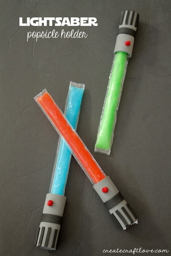 These Lightsaber Popsicle Holders will bring out the kid in everyone! via createcraftlove.com