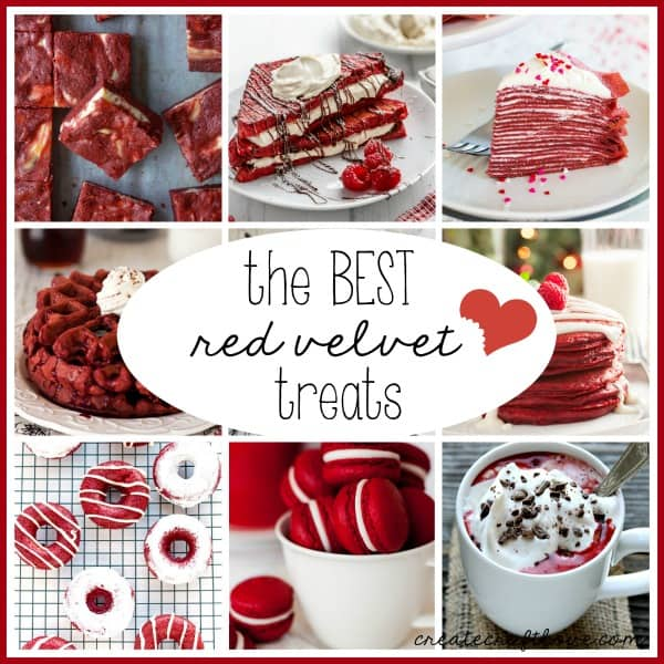 These Red Velvet Treats are the best flavor and color for the sweetest day of the year! via createcraftlove.com
