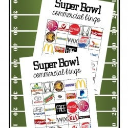 Make it a party with this Super Bowl Commercial Bingo! Free download available at createcraftlove.com!