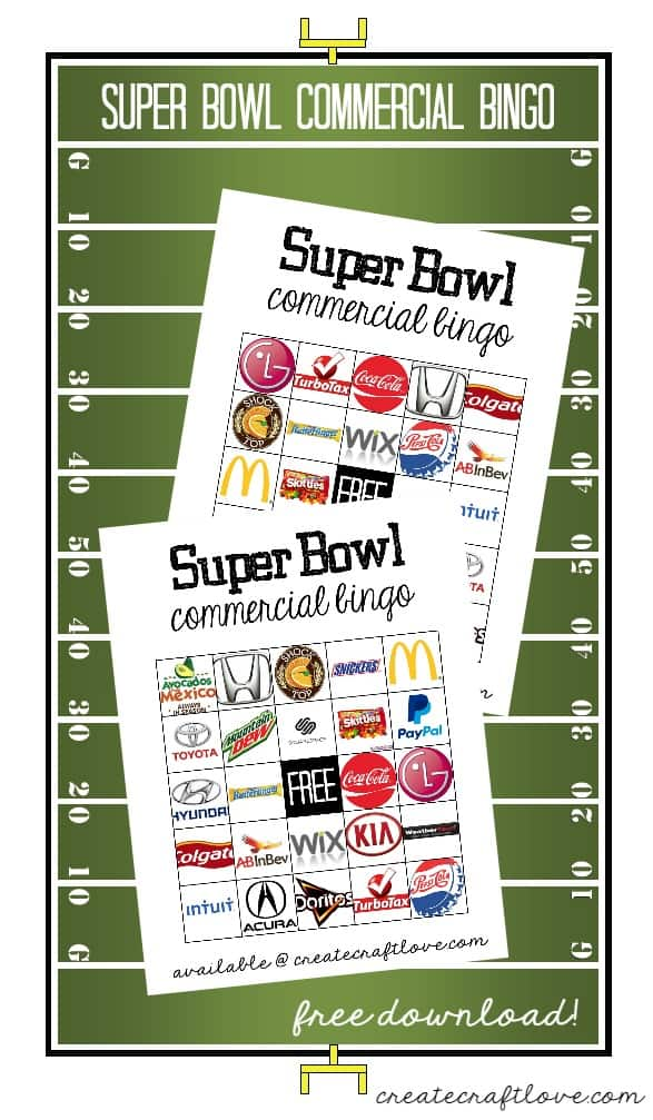 Make it a party with this Super Bowl Commercial Bingo! Free download ...