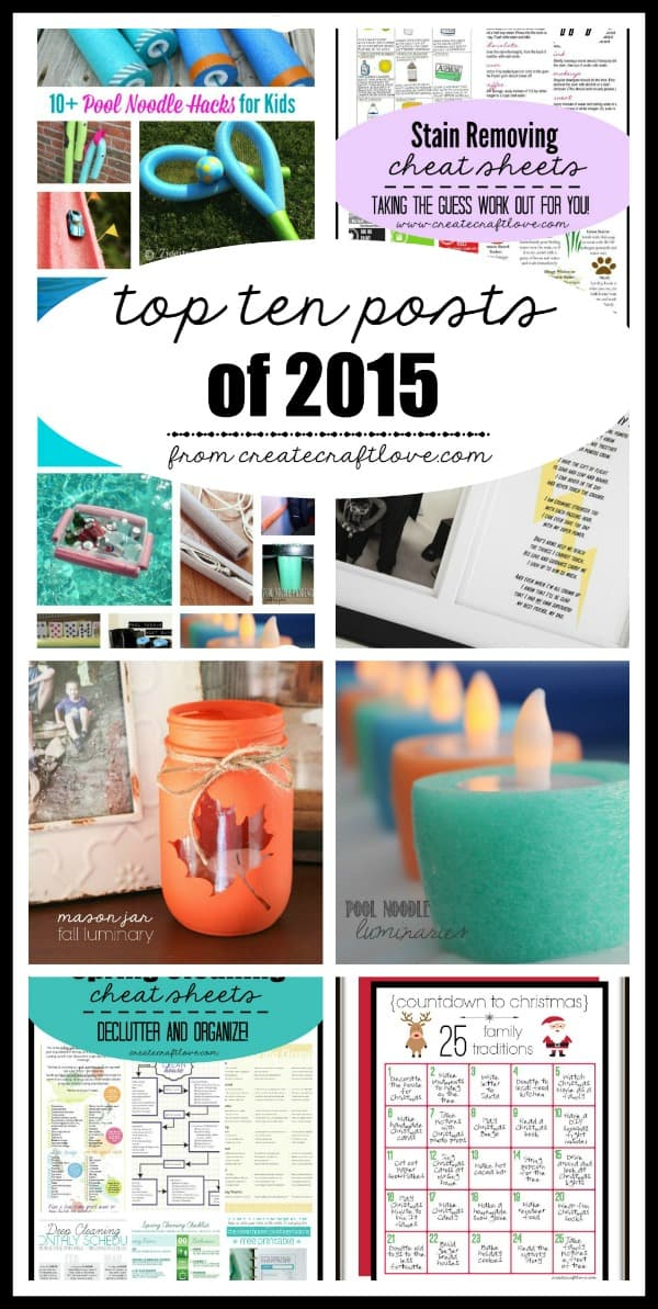 Here are the Top Ten Viewed Posts of 2015 at createcraftlove.com!