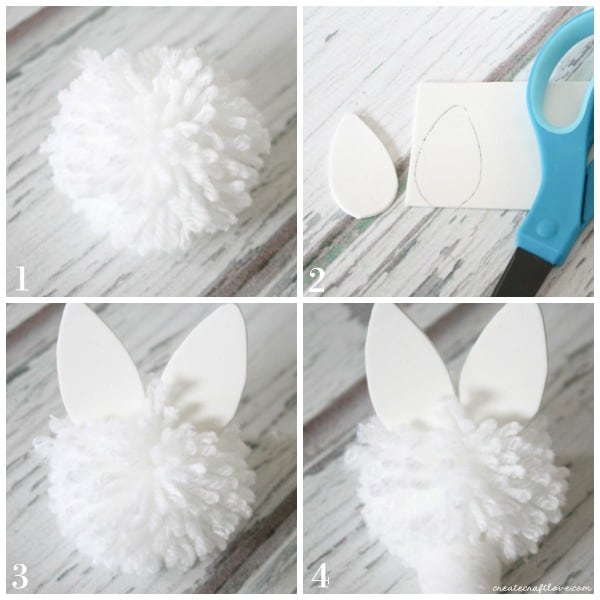 bunny pom pom collage