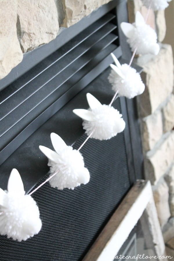 "Bunny Pom Pom Garland screams ""Hoppy"" Easter! via createcraftlove.com"