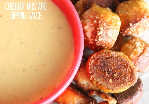 Cheddar Mustard Dipping Sauce traditionally pairs with pretzels but it compliments many dishes well. You can spruce up chicken wings, raw vegetables (cauliflower in particular), apples, or put it on your favorite sandwich. via createcraftlove.com