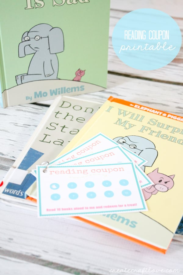 This Reading Coupon Printable encourages young readers to try new books and stretch their minds! via createcraftlove.com
