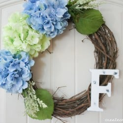 spring hydrangea wreath horizontal