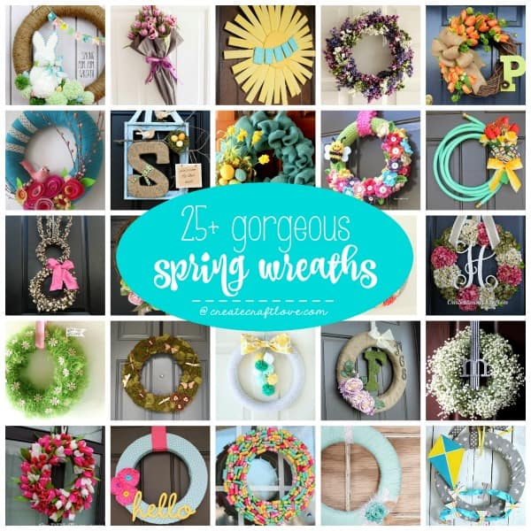 These 25+ Gorgeous Spring Wreaths are sure to chase away the winter blues with thoughts of warmer days! via createcraftlove.com
