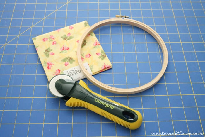 Fabric wrapped embroidery hoop create craft love