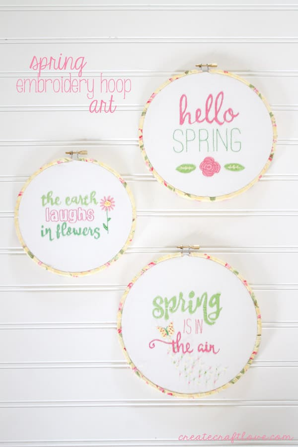 This Spring Embroidery Hoop Art can be whipped up in no time!