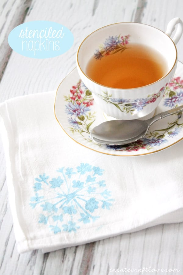 Handmade Stenciled Napkins are so easy that kids can make them too!