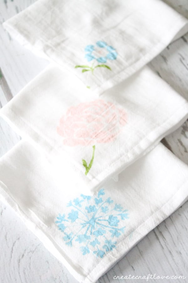 stenciled tea towels trio
