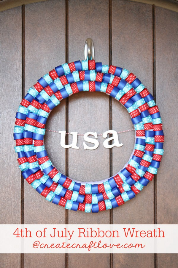 This 4th of July Ribbon Wreath combines your typical red, white and blue decor with a pop of aqua! via createcraftlove.com