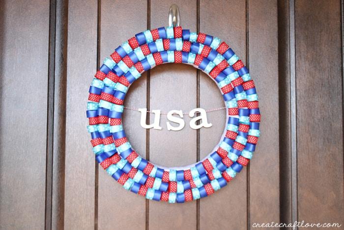 4th of july ribbon wreath horizontal