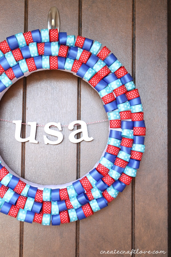 4th of july ribbon wreath off center