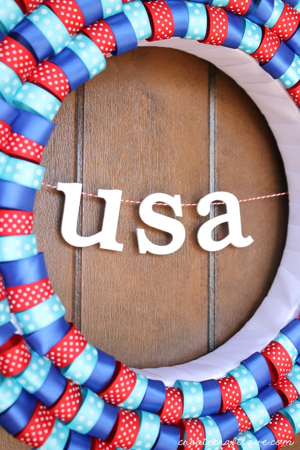 4th of july ribbon wreath side