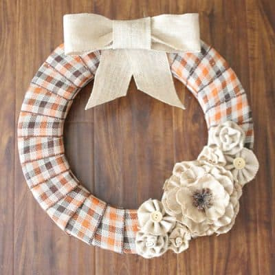 Burlap and Plaid Fall Wreath