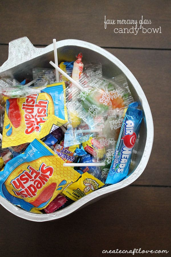 All you need is TWO things to create this Faux Mercury Glass Candy Bowl!