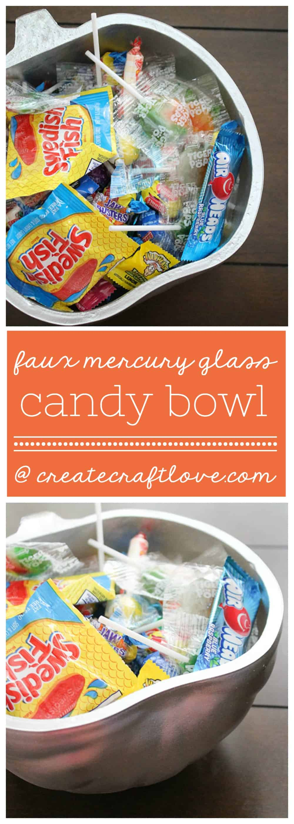 You only need TWO materials to make this Faux Mercury Glass Candy Bowl!