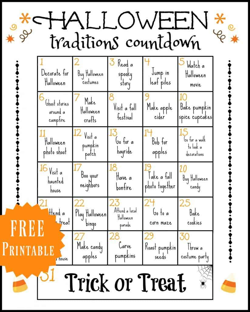 I put together this Halloween Traditions Printable to help you jump start your fall holidays traditions!