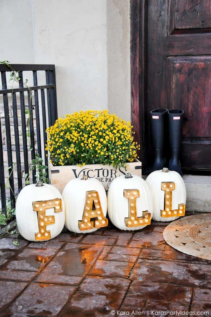 marquee letter pumpkins