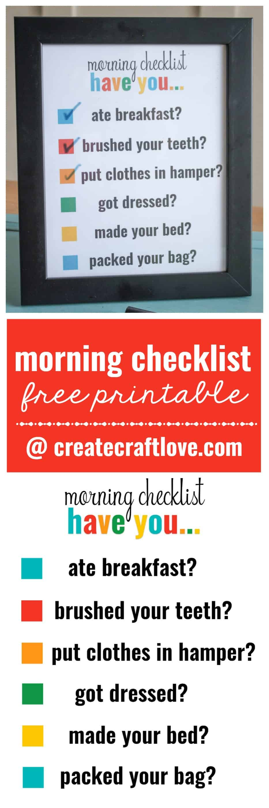 I created this Morning Checklist Printable to get my kiddo moving in the morning!