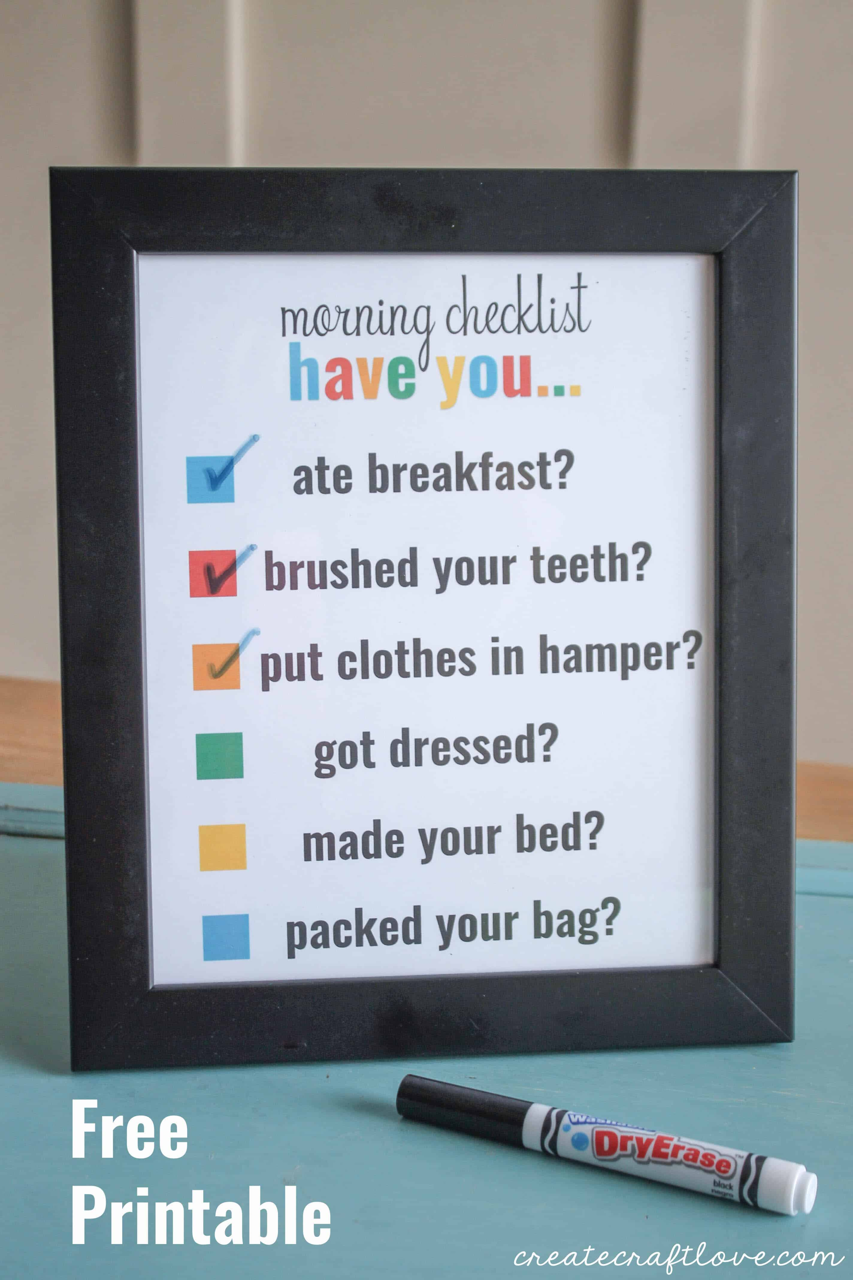 Morning Checklist Printable Create Craft Love