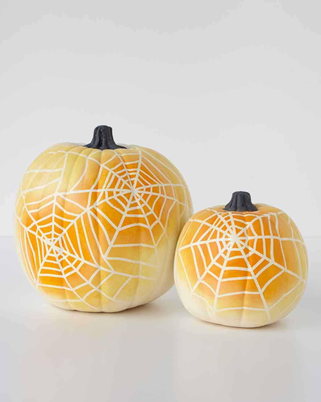 ombre spider web pumpkins