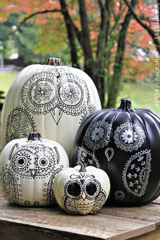owl sharpie pumpkins